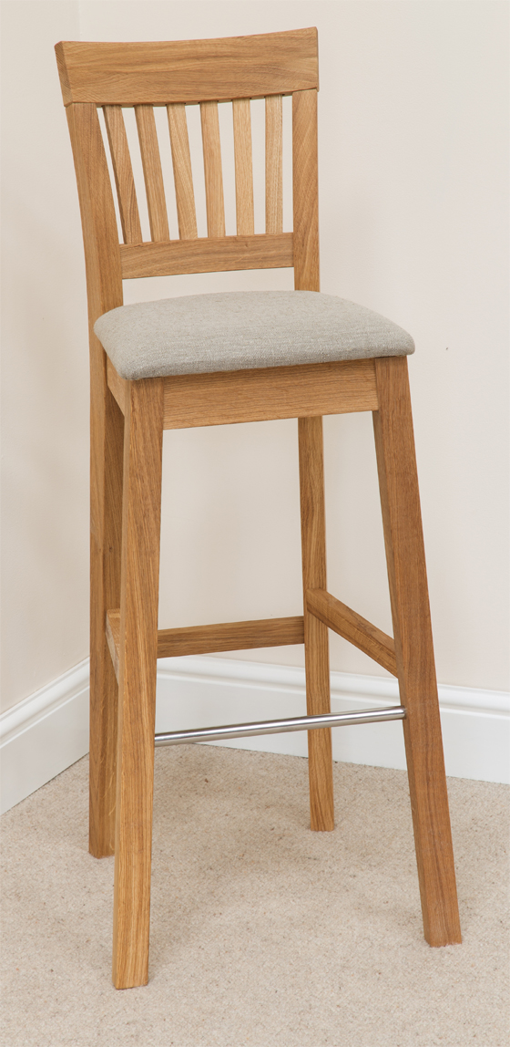 Bar Stool 088 Solid Oak Beige Fabric Bar Stools Bar Stool Wooden Stools