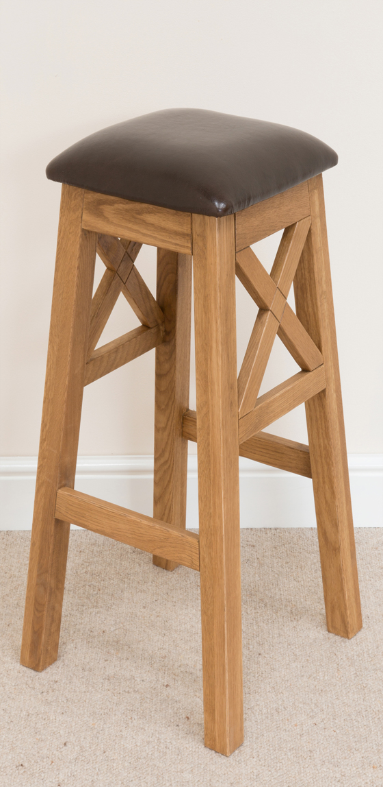 Cross Bar Stool 195 Solid Oak Brown Leather Bar Stools