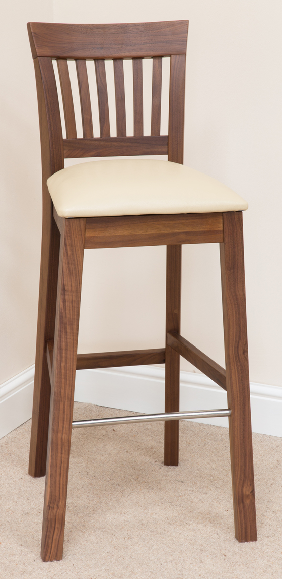 Bar Stool 345 Dark Walnut Cream Leather Bar Stools Bar Stool Wooden Stools Wooden Bar